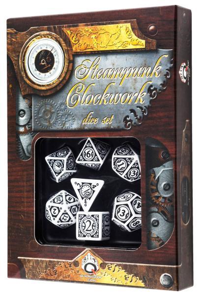 Exotic Dice Sets: Steampunk Clockwork Dice: White & black Set (7) BOX