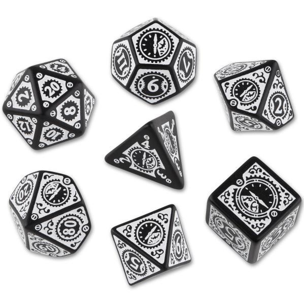 Exotic Dice Sets: Steampunk Clockwork Dice: Black & White Set (7) BOX