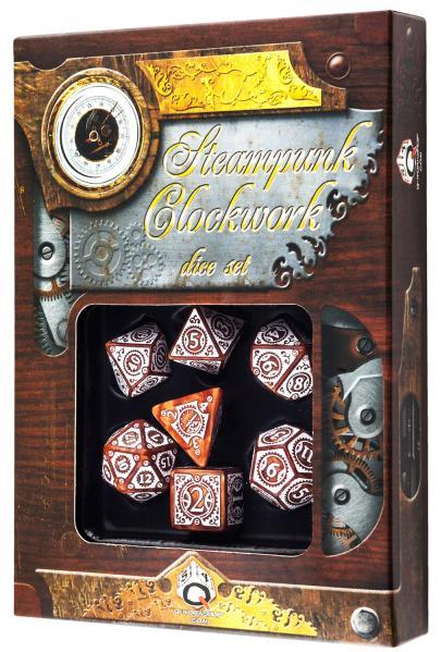 Exotic Dice Sets: Steampunk Clockwork Dice: Caramel & White Set (7) BOX