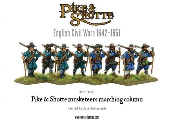 28mm Pike & Shotte - Musketeers Marching Column