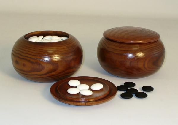 8mm Glass Go Stones and Wood Bowls