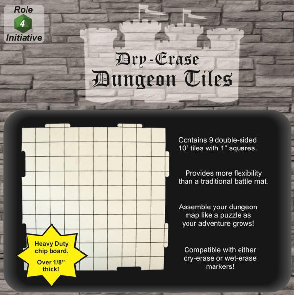 Dry Erase Dungeon Tiles: 10'' Interlocking (9)