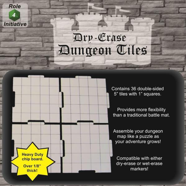 Dry Erase Dungeon Tiles: 5'' Interlocking (36)