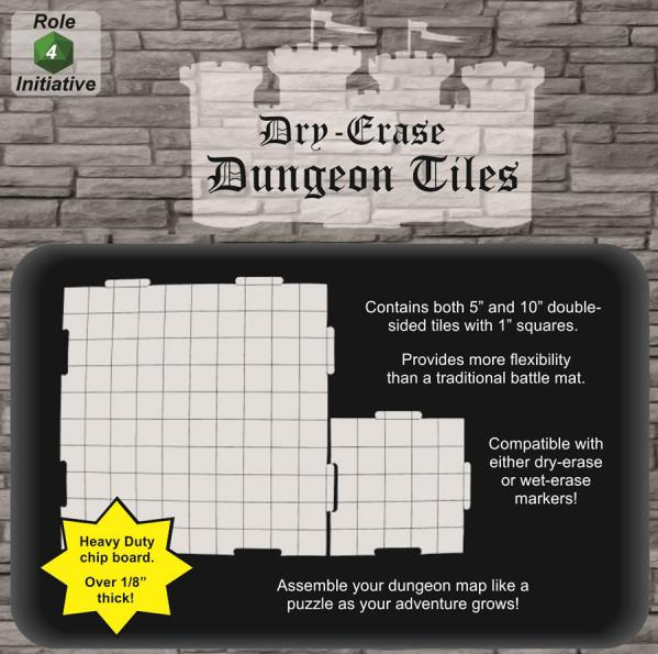 Dry Erase Dungeon Tiles: Combo Pack: 10'' (4) & 5'' (16) Interlocking