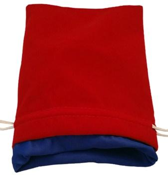 Red Velvet Dice Bag with Blue Satin Lining (6''x8'')