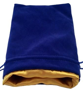 Dice Bags: Blue Velvet Dice Bag with Gold Satin Lining (6''x8'')