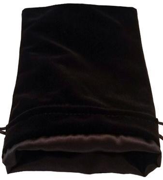 Dice Bags: Black Velvet Dice Bag with Black Satin Lining (6''x8'')