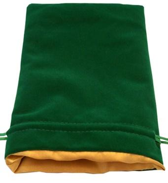 Dice Bags: Green Velvet Dice Bag with Gold Satin Lining (6''x8'')