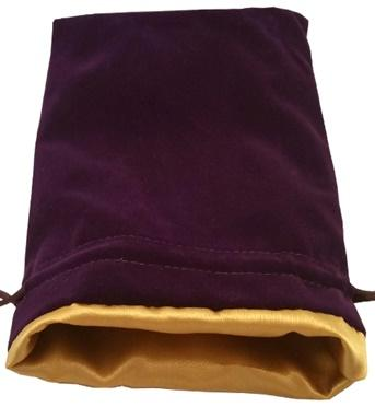 Dice Bags: Purple Velvet Dice Bag with Gold Satin Lining (6''x8'')