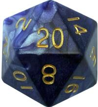 Resin Dice: 35mm Mega Acrylic d20 - Combo Attack Blue/White w/ Gold Numbers