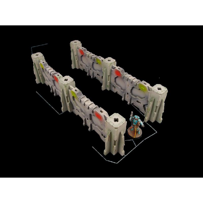 28mm Sci-Fi Terrain: District 5 Walls, Straight