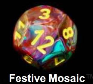 Dice Sets: Festive Mosaic/Yellow Polyhedral 7-Die Set