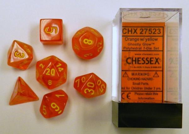 Dice Sets: Ghostly Glow Orange/Yellow Polyhedral 7-Die Set
