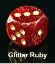 Bulk Dice Sets: Bags Of 20 Glitter Ruby/Gold