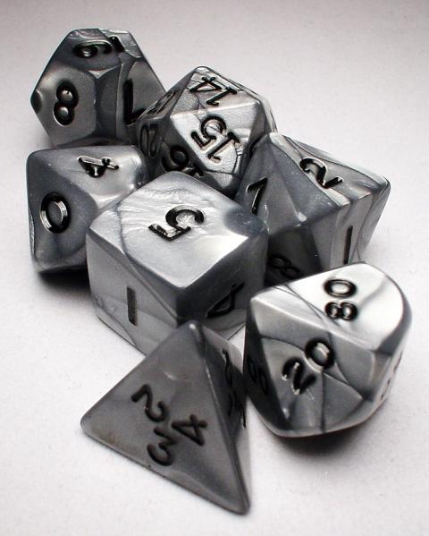 Koplow RPG Dice Sets: Silver/Black Olympic Polyhedral 7-Die Set
