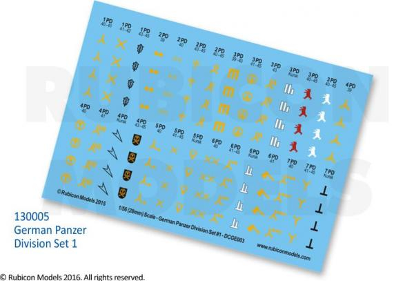 28mm WWII: (German) Panzer Division Decal Set 1