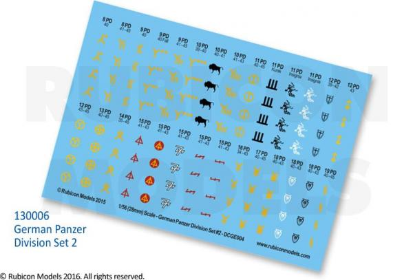 28mm WWII: (German) Panzer Division Decal Set 2
