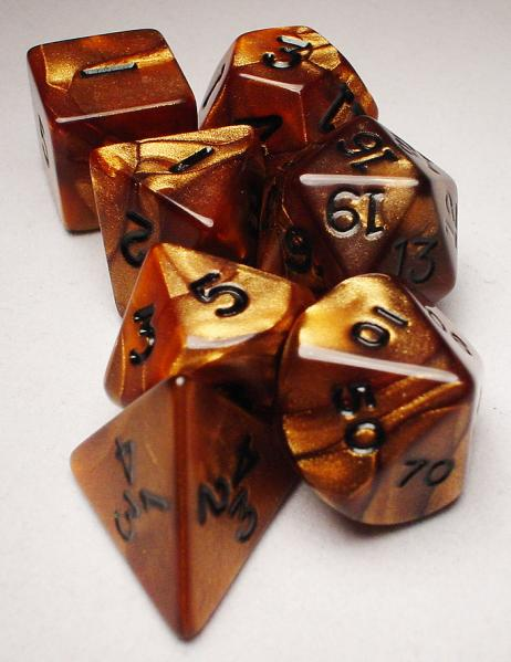 Koplow RPG Dice Sets: Bronze/Black Olympic Polyhedral 7-Die Set