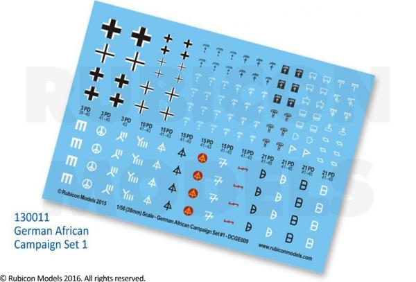 28mm WWII: (German) African Campaign Decal Set 1