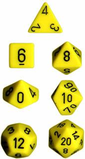 Chessex RPG Dice Sets:  Yellow/Black Opaque Polyhedral 7-Die Set