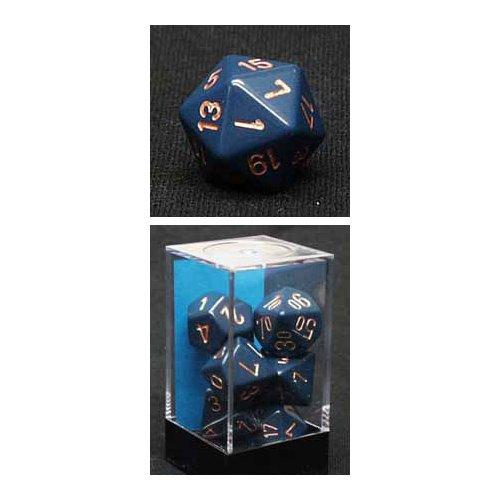 Chessex RPG Dice Sets: Dusty Blue/Copper Opaque Polyhedral 7-Die Set
