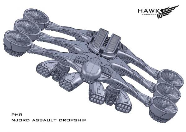Dropzone Commander: (Post-Human Republic) Njord Assault Dropship (Poseidon Variant)