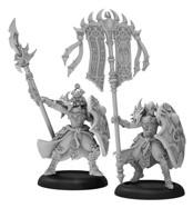 Hordes: (Skorne) Praetorian Karax Commander & Standard, Command Attachment (resin/metal)