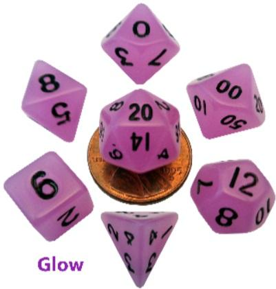 Mini Polyhedral Dice Set: Glow Purple w/Black Numbers (7)