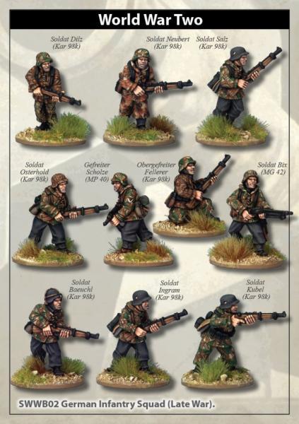 28mm World War II: (German) Late War Infantry Section (In smocks)
