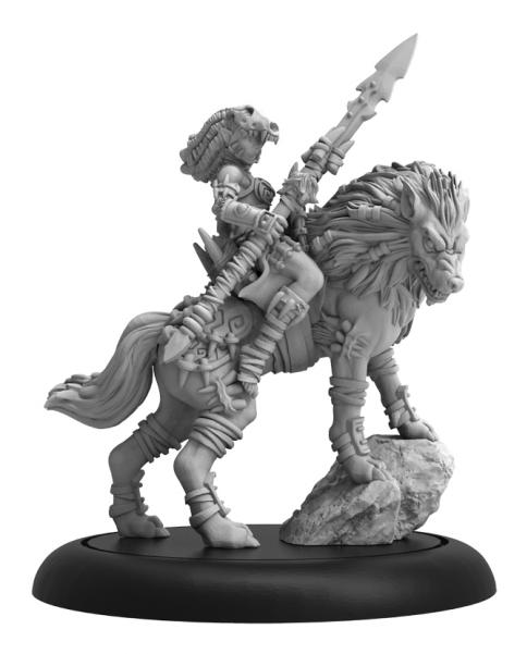 Hordes: (Circle Orboros) Tharn Wolf Rider Champion, Solo (metal/resin)