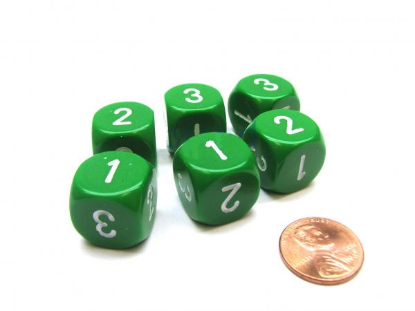 Opaque 16mm d3 (d6 w/ 1-2-3 twice) Green/White (1)