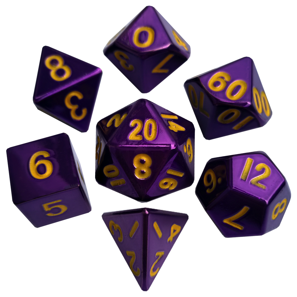 16mm Polyhedral Purple w/Gold Numbers