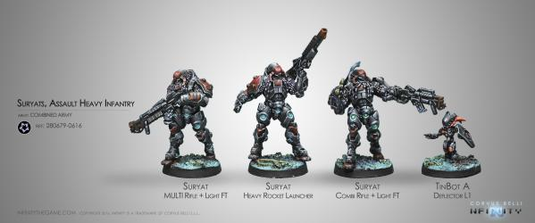 Infinity (#616) Combined Army: Suryats, Assualt Heavy Infantry (4)