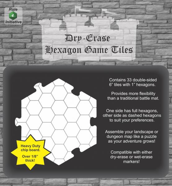 Dry Erase Dungeon Tiles: Dry-Erase Hexagon Game Tiles