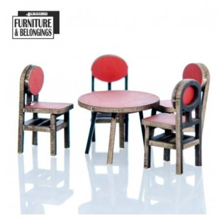 28mm Furniture: Food Court Table And Chairs