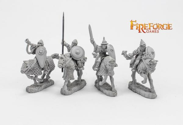 28mm Medieval: (Russian) Junior Druzhina Command (4 mounted resin figures)