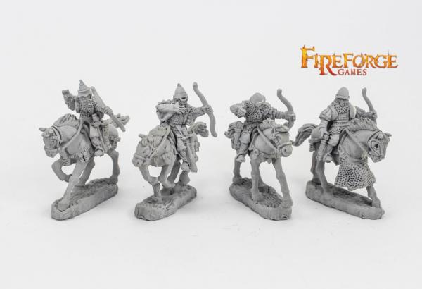 28mm Medieval: (Russian) Junior Druzhina Archers (4 mounted resin figures)