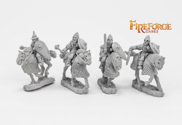 28mm Medieval: (Russian) Junior Druzhina Mixed Weapons (4 mounted resin figures)