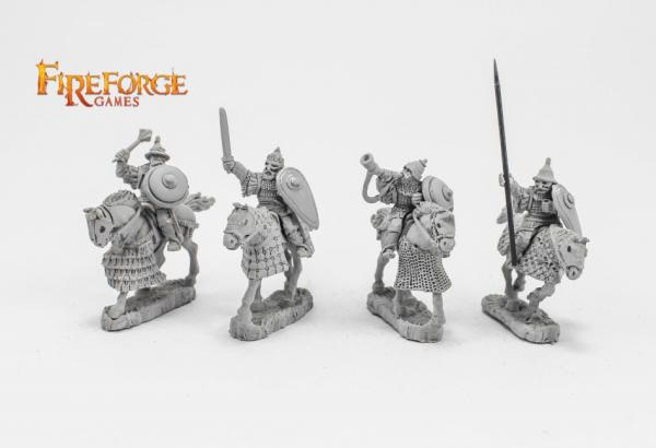28mm Medieval: (Russian) Senior Druzhina Command (4 mounted resin figures)
