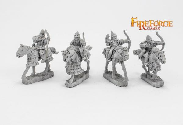 28mm Medieval: (Russian) Senior Druzhina Archers (4 mounted resin figures)