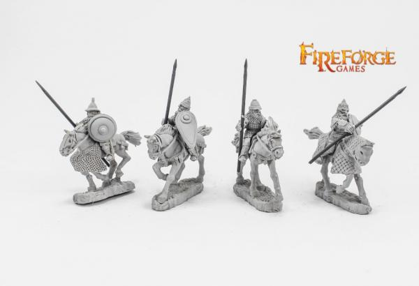 28mm Medieval: (Russian) Senior Druzhina Lancers (4 mounted resin figures)