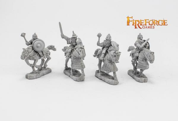 28mm Medieval: (Russian) Senior Druzhina Mixed Weapons (4 mounted resin figures)