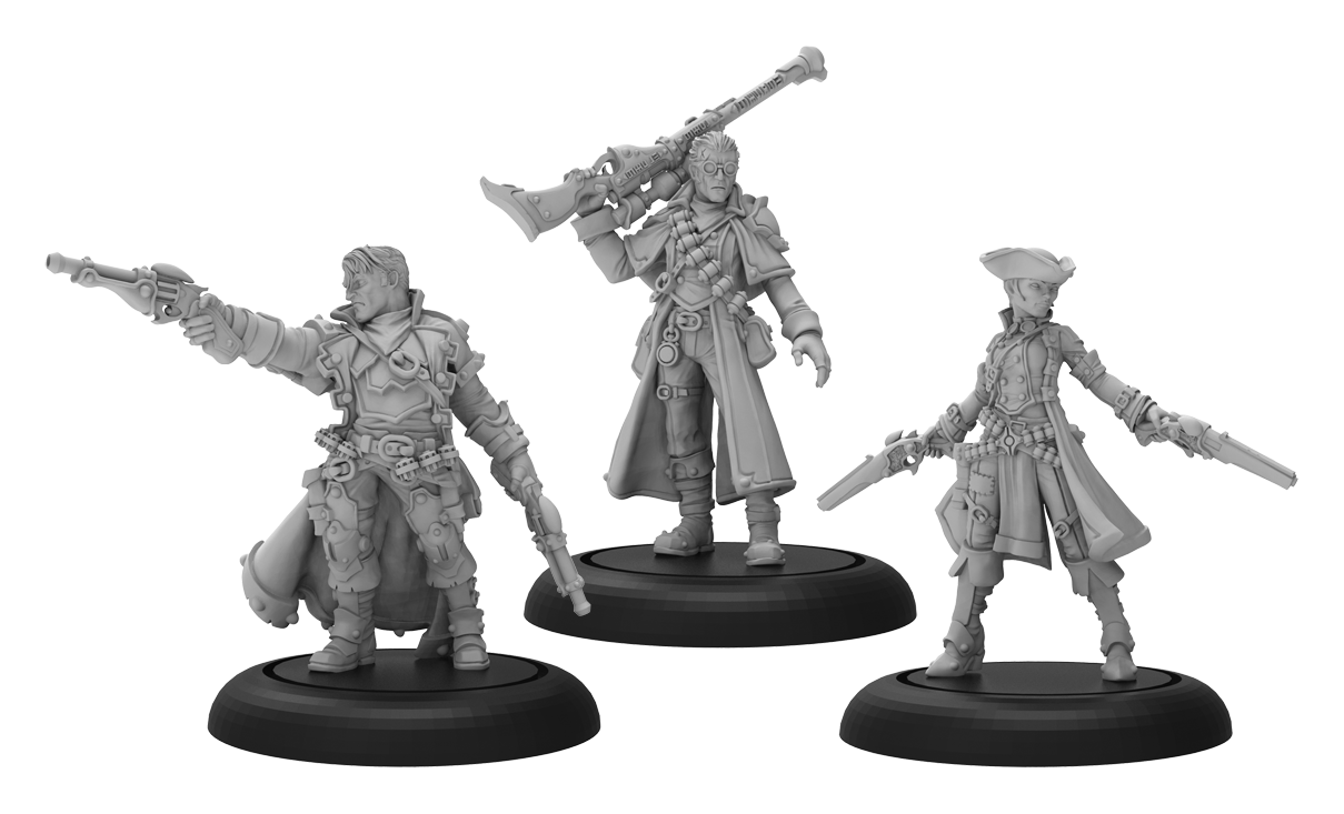 Warmachine: (Mercenaries) Caine's Hellslingers - Mercenary Warcaster Unit (Metal)