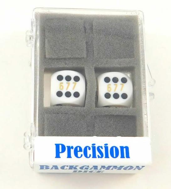White Opaque D6 Precision Backgammon Dice w/Black Pips (1 Pair, 16mm)