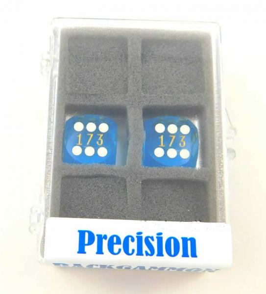 Blue Transparent D6 Precision Backgammon Dice w/White Pips (1 pair, 16mm)