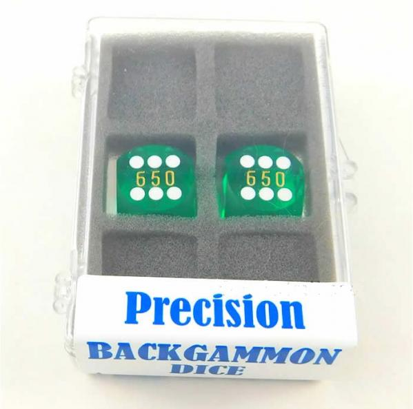 Green Transparent D6 Precision Backgammon Dice w/White Pips (1 pair, 16mm)