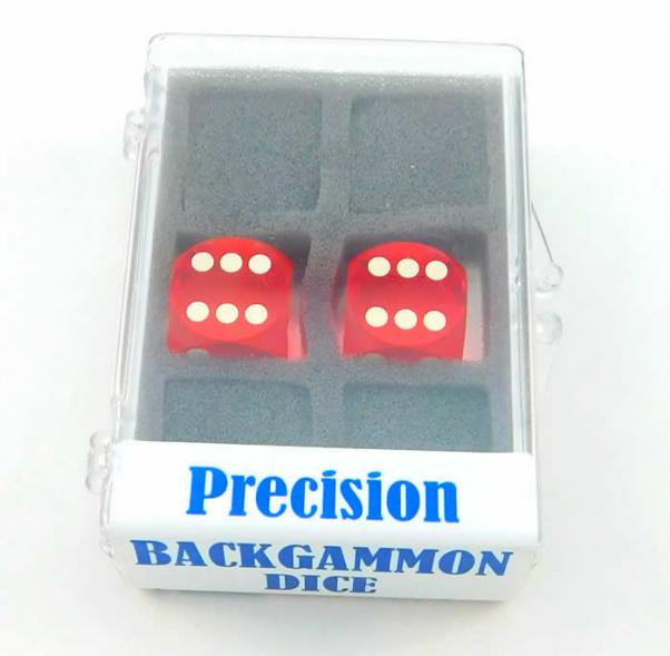 Red Transparent D6 Precision Backgammon Dice w/White Pips (1 pair, 16mm)