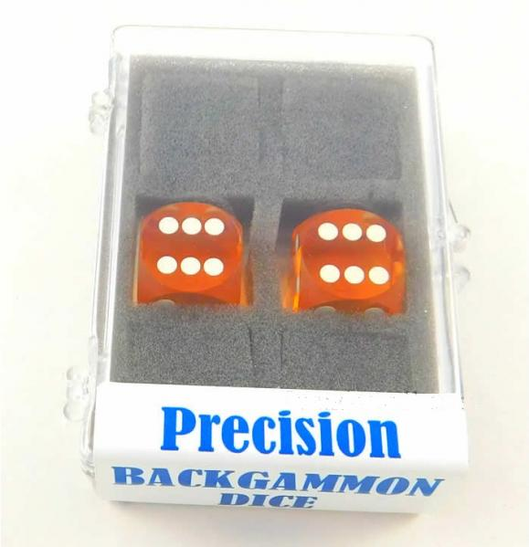 Yellow Transparent D6 Precision Backgammon Dice w/White Pips (1 pair, 16mm)