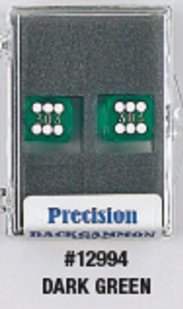Backgammon Accessories: Dark Green Transparent D6 Precision Backgammon Dice w/White Pips