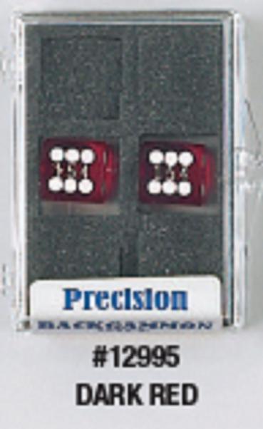 Backgammon Accessories: Dark Red Transparent D6 Precision Backgammon Dice w/White Pips